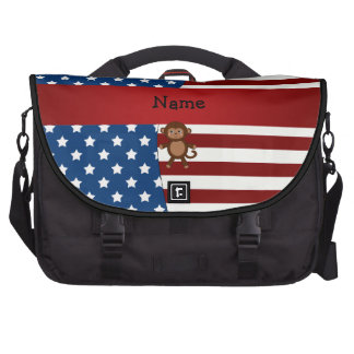 Personalized name Patriotic monkey Commuter Bag