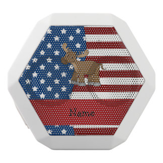 Personalized name Patriotic moose White Boombot Rex Bluetooth Speaker