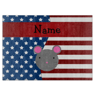 Personalized name Patriotic mouse Cutting Board