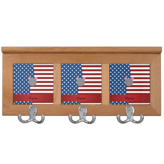 Personalized name Patriotic mouse Coat Rack