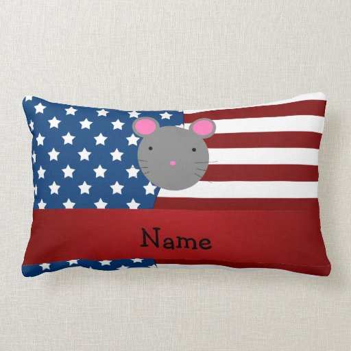 Personalized name Patriotic mouse Throw Pillow