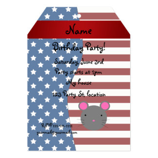 "Personalized name Patriotic mouse 5"" X 7"" Invitation Card"