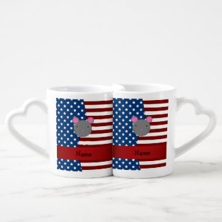Personalized name Patriotic mouse Couple Mugs