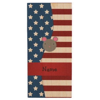 Personalized name Patriotic mouse Wood USB 2.0 Flash Drive