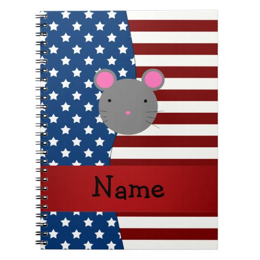 Personalized name Patriotic mouse Spiral Note Books