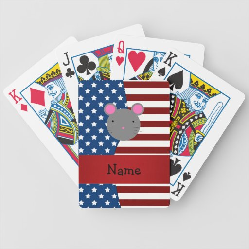 Personalized name Patriotic mouse Poker Cards