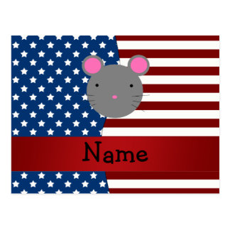 Personalized name Patriotic mouse Postcard