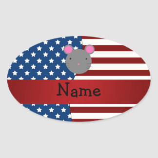 Personalized name Patriotic mouse Oval Sticker