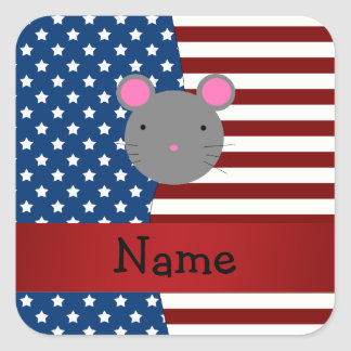 Personalized name Patriotic mouse Square Sticker