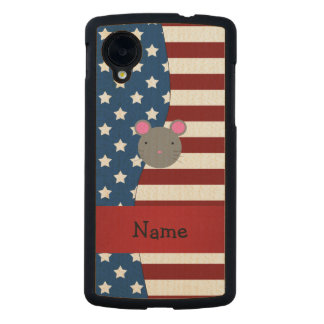 Personalized name Patriotic mouse Carved® Maple Nexus 5 Slim Case