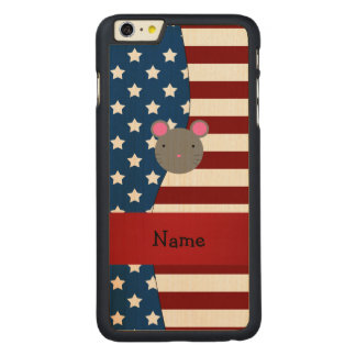Personalized name Patriotic mouse Carved® Maple iPhone 6 Plus Slim Case