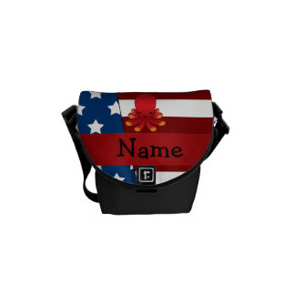 Personalized name Patriotic octopus Messenger Bags