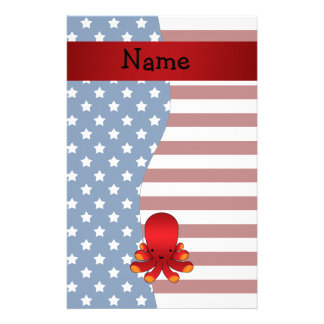 Personalized name Patriotic octopus Customized Stationery