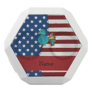 Personalized name Patriotic peacock White Boombot Rex Bluetooth Speaker