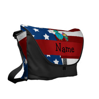 Personalized name Patriotic peacock Messenger Bags