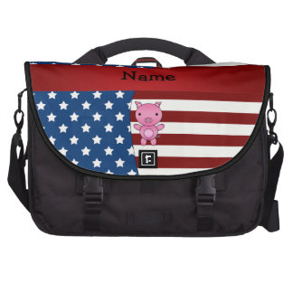 Personalized name Patriotic pig Bags For Laptop
