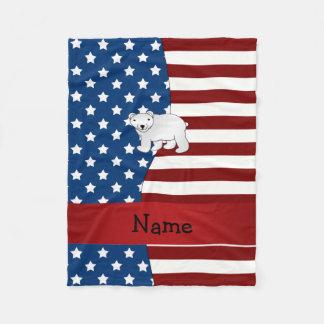 Personalized name Patriotic polar bear Fleece Blanket