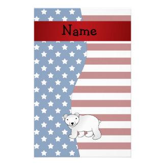 Personalized name Patriotic polar bear Customized Stationery