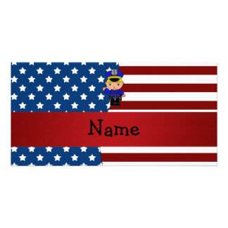 Personalized name Patriotic policeman Personalized Photo Card