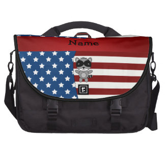Personalized name Patriotic raccoon Bags For Laptop