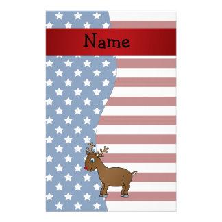 Personalized name Patriotic reindeer Stationery