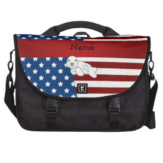 Personalized name Patriotic seal Laptop Commuter Bag