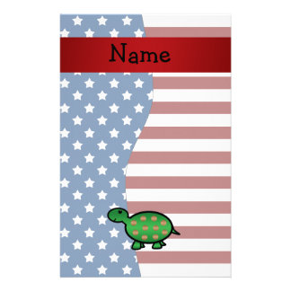 Personalized name Patriotic turtle Customized Stationery