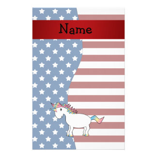 Personalized name Patriotic unicorn Stationery Paper