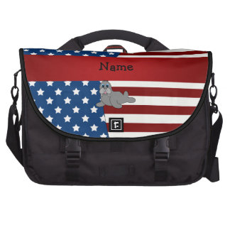 Personalized name Patriotic walrus Bag For Laptop