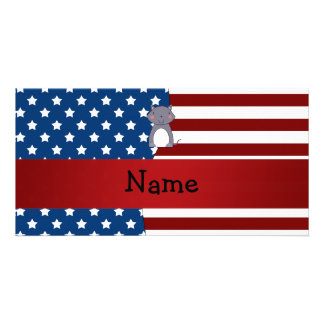 Personalized name Patriotic wolf Picture Card