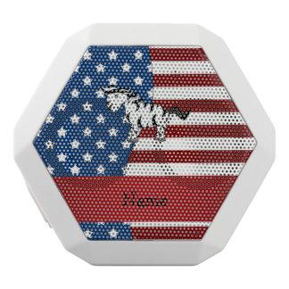 Personalized name Patriotic zebra White Boombot Rex Bluetooth Speaker