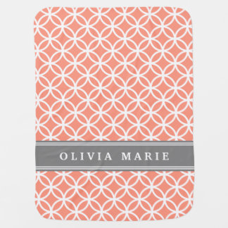 Personalized Name Peach Modern Circles Pattern Baby Blanket