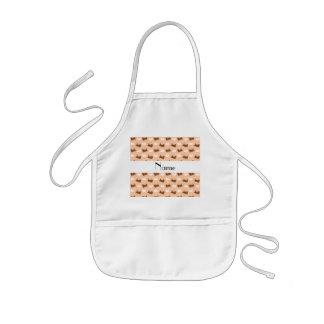 Personalized name peach orange train pattern kids' apron