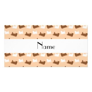 Personalized name peach orange train pattern customized photo card