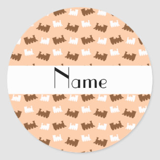Personalized name peach orange train pattern stickers