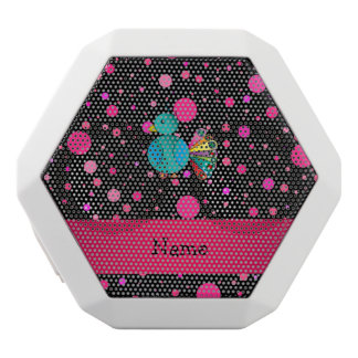 Personalized name peacock black pink polka dots white boombot rex bluetooth speaker