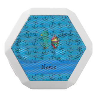 Personalized name peacock blue anchors pattern white boombot rex bluetooth speaker