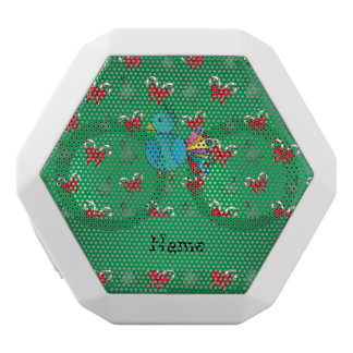 Personalized name peacock green candy canes bows white boombot rex bluetooth speaker