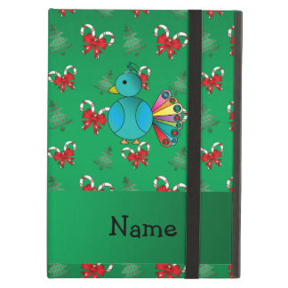 Personalized name peacock green candy canes bows case for iPad air