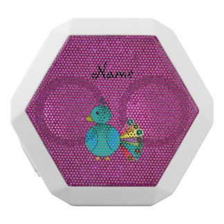 Personalized name peacock pink glitter white boombot rex bluetooth speaker