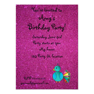 """Personalized name peacock pink glitter 5.5"""" x 7.5"""" invitation card"""