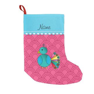 Personalized name peacock pink half circles small christmas stocking