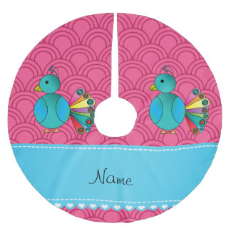 Personalized name peacock pink half circles tree skirt