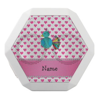 Personalized name peacock pink hearts polka dots white boombot rex bluetooth speaker
