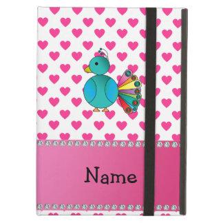 Personalized name peacock pink hearts polka dots iPad air cases