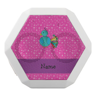 Personalized name peacock pink stars white boombot rex bluetooth speaker