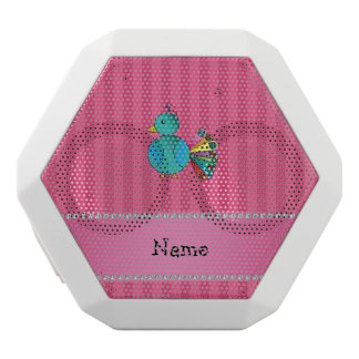 Personalized name peacock pink stripes white boombot rex bluetooth speaker