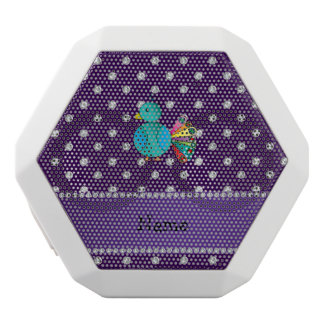 Personalized name peacock purple diamonds white boombot rex bluetooth speaker