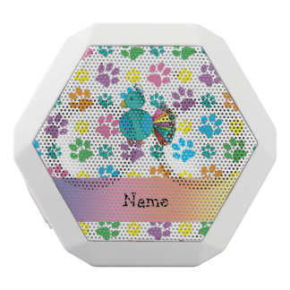 Personalized name peacock rainbow paws white boombot rex bluetooth speaker