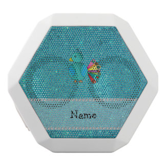 Personalized name peacock turquoise glitter white boombot rex bluetooth speaker